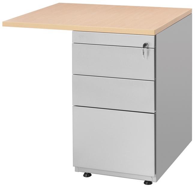 Bt1336 retour sur caisson hauteur bureau 80x60cm avec - Caisson bureau 3 tiroirs ...