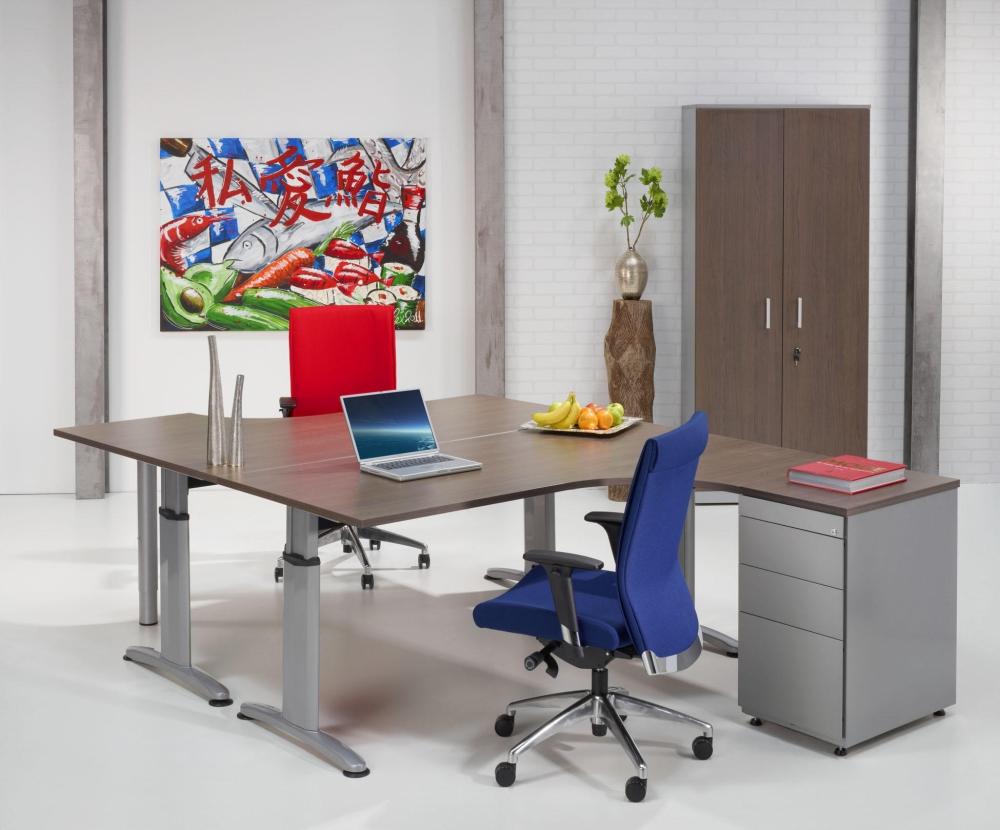 Dt160l bureau compact double t 160x120cm gauche burodepo for Meuble bureau compact