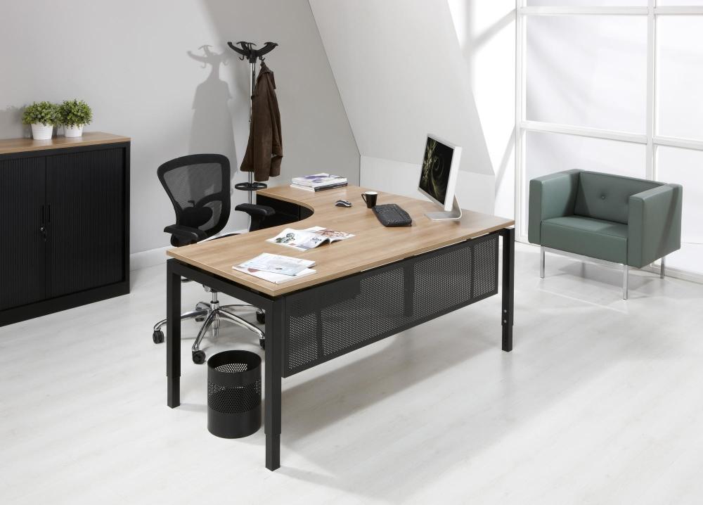 Quw180zl bureau compact quartet retour gauche 180x120cm for Meuble bureau compact