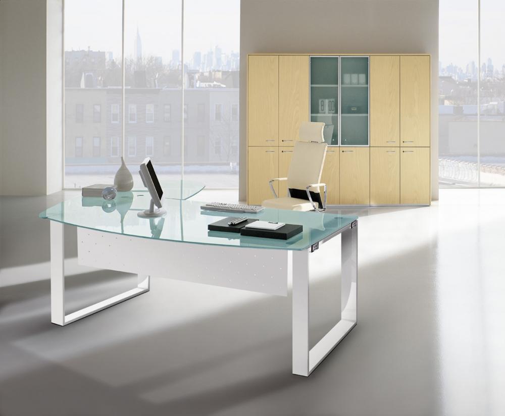 Bureau Met Glazen Blad.Quadri Feaa0180 Kantoor Ring B180xd101cm Glazen Blad